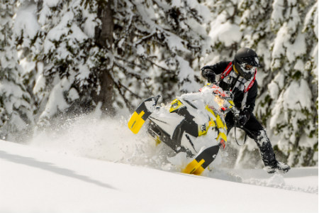 Adventurous Sledder Snowmobiling